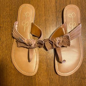 Jessica Simpson leather bow tie sandals size 7